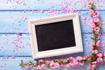 Background  with  sakura pink flowers  and empty blackboard