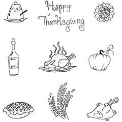 Thanksgiving in doodle food vectoor art