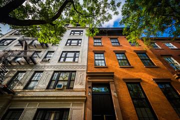 Brick apartment buildings in  Chelsea, Manhattan, New York.