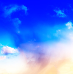Vertical vivid blue spectre cloudscape dramatic clouds backgroun