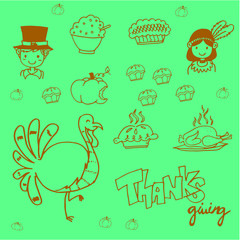 Doodle food thanksgiving party