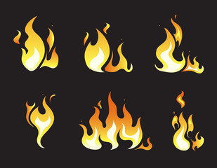 Explosion animation vector frames. Set of animation fire and illustration of various fire