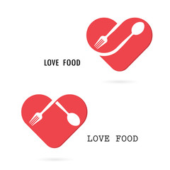 Spoon and fork logo with red heart shape vector design element.