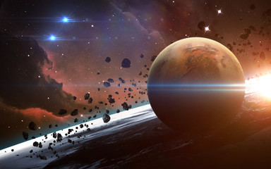 Universe scene with planets, stars and galaxies in outer space showing the beauty of  exploration. Elements furnished by NASA