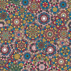 Seamless pattern texture. Indian, arabic, turkish style elements. Vintage vector card. Hand drawn doodle illustration. Floral .