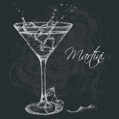 Hand drawn martini cocktail in glass with cherry. Vector illustration