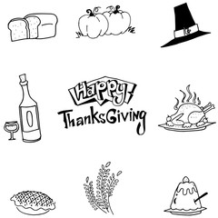 Element food Thanksgiving in doodle