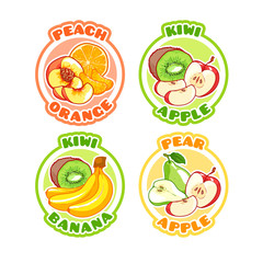 Four stickers with different combinations of fruits.