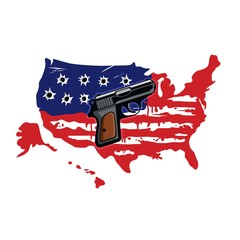 American Flag Map With Bullet Holes Vector