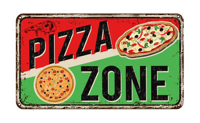 Pizza zone vintage rusty metal sign Wall mural