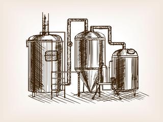 Beer brewing sketch vector illustration