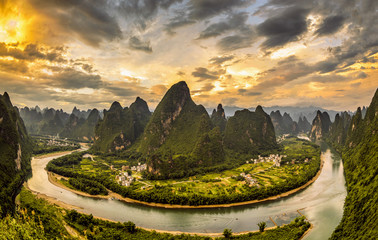 Xianggong hill landscape of Guilin, Li River and Karst mountains. Xingping, Yangshuo County, Guangxi Province, China.