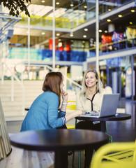 Finland, Helsinki, Smiling women using laptop in cafe