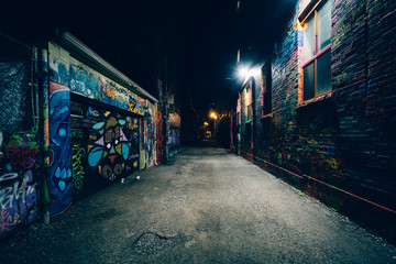 Graffiti Alley at night, in the Fashion District of Toronto, Ont Wall mural