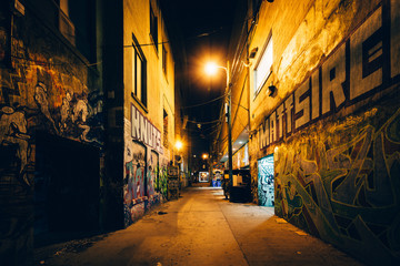 Graffiti Alley at night, in the Fashion District of Toronto, Ont Fotomurales