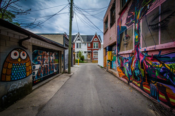 Graffiti in an alley in West Queen West, in Toronto, Ontario. Wall mural
