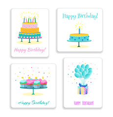 Bright happy birthday greeting cards with cakes, muffins and candles on white background in flat style.  Vector illustration