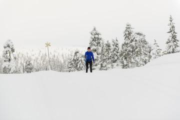 Sweden, Salen, Woman skiing