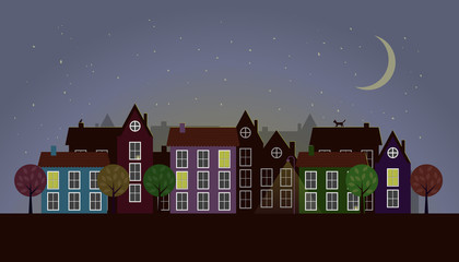 Vector of Small Town at Night or Twilight. Colorful houses with windows, some are lit and have candles. With stylized trees, lantern and animals as decorations. Moon and stars. eps 10