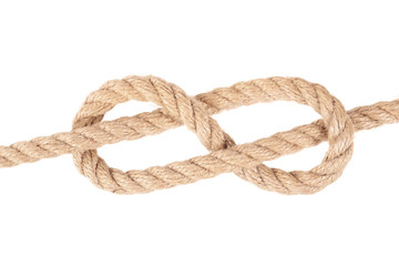 """Visual material or guide on execution of """"Figure Eight knot"""". Isolated on white background. Illustration for a survival guide."""