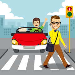 Angry driver in red convertible car yelling to distracted man with smartphone while crossing pedestrian with red traffic light