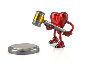 3d illustration of heart character with a judges gavel