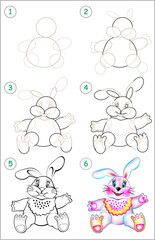 Page shows how to learn step by step to draw a toy rabbit. Developing children skills for drawing and coloring. Vector image.