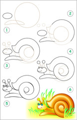 Page shows how to learn step by step to draw a snail. Developing children skills for drawing and coloring. Vector image.
