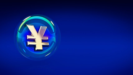 yen yuan symbol in bubble. 3d rendering