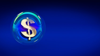 dollar symbol in bubble. 3d rendering