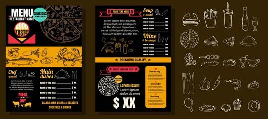 Restaurant Food Menu Vintage Design with Chalkboard Background v