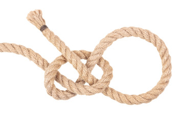 """Visual material or guide on execution of """"Lariat Loop Knot"""". Isolated on white background. Illustration for a survival guide."""
