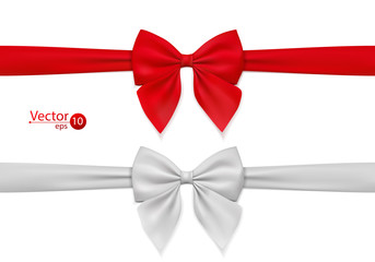 Red, white bow with ribbon. Can be use for decoration gifts, greetings, holidays. Vector illustration.