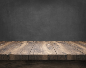 rustic wooden table with blackboard