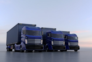 Blue container trucks arranged in line. 3D rendering image.