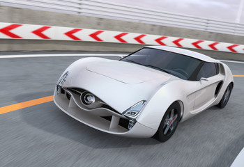 White sports car on highway. 3D rendering image.