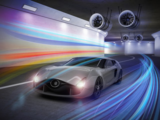Silver sports car  with colorful light trails in tunnel. 3D rendering image.