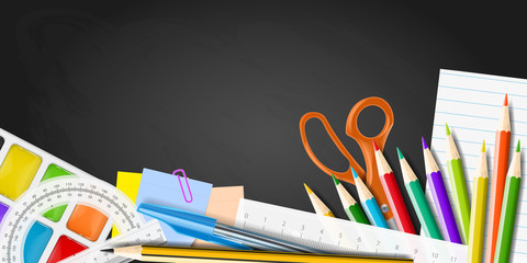 School supplies on blackboard. Realistic vector illustration.