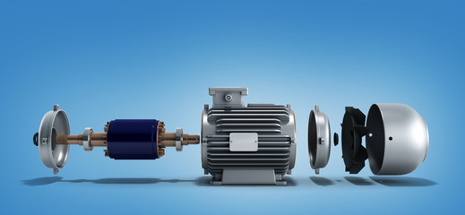 electric motor in disassembled state 3d render on a gradient bac Wall mural