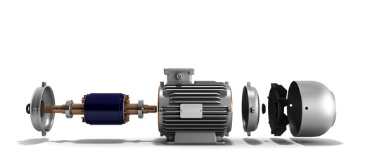 electric motor in disassembled state 3d render on a white backgr Wall mural