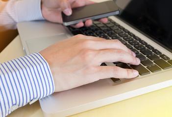 businessman hand on smat phone