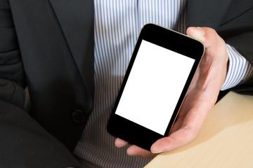businessman hand holding smat phone