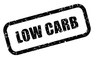 Stempel: LOW CARB – Vektor, grunge, schwarz-weiß, schräg, freigestellt