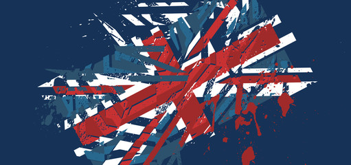Vector abstract background with grunge textures. Union Jack back