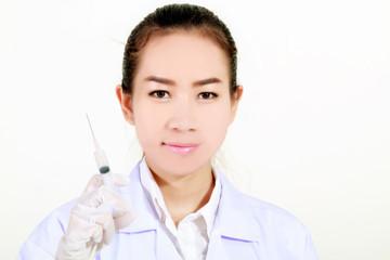 Doctor holding medical injection syringe and Medicine plastic va
