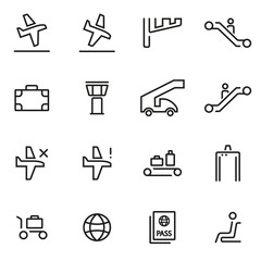 Vector illustration of thin line icons - airport