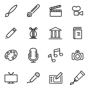 Vector illustration of thin line icons - art