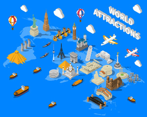 Isometric World Famous Landmarks Map POster