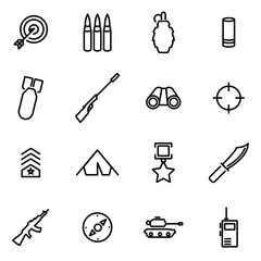 Vector illustration of thin line icons - military