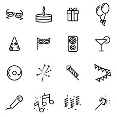 Vector illustration of thin line icons - party
